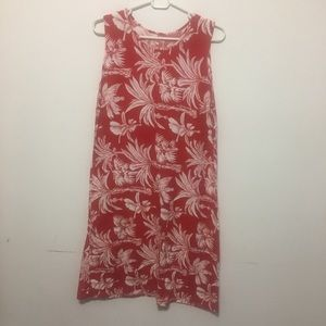 Tropical Red White Summer Shift Dress, L